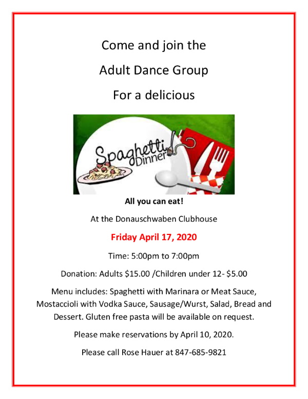 CANCELLED-Spaghetti Dinner @ Donauschwaben Center | Des Plaines | Illinois | United States