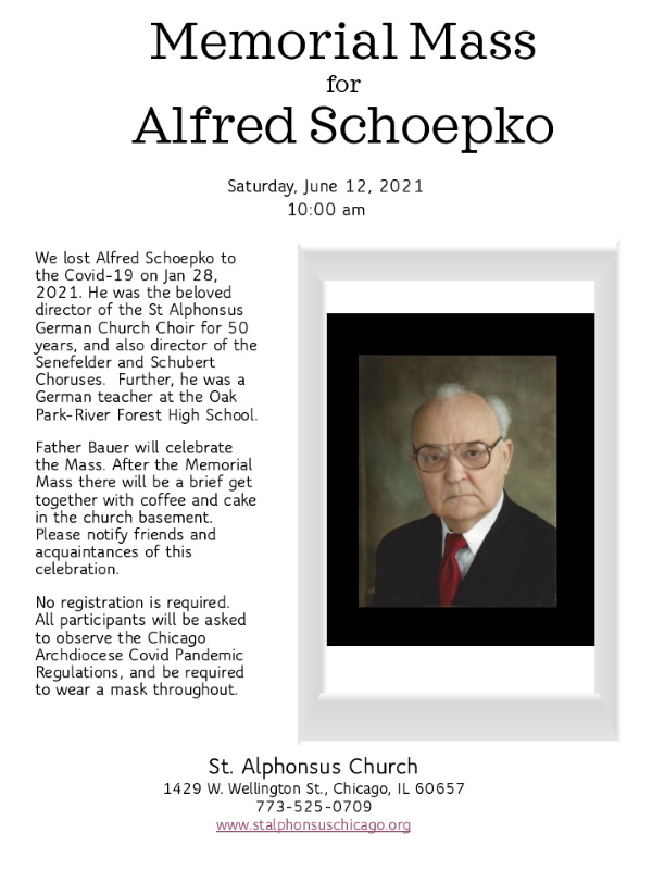 Memorial Mass for A. Schoepko @ St. Alphonsus Church | Chicago | Illinois | United States